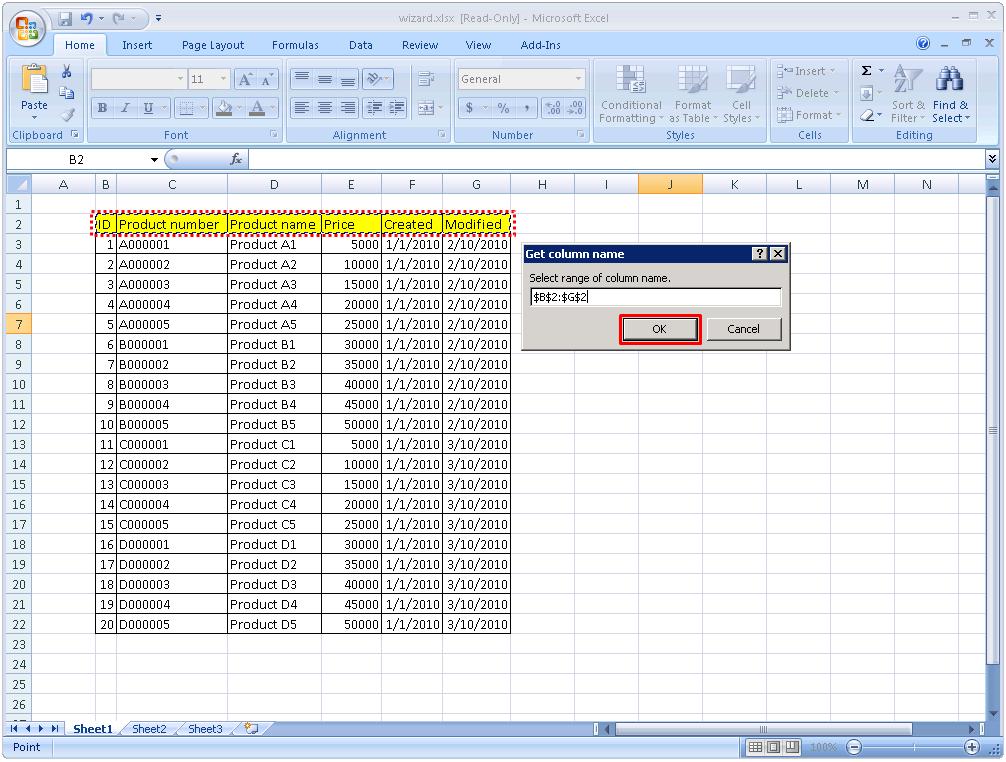 Excel] Excel Read Wizard